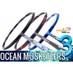 Ocean Musketeers 3: 1x Abroz Shark Hammerhead, 1x Apacs Flyweight 10 Navy, 1x Abroz Shark Tiger Badminton Racket