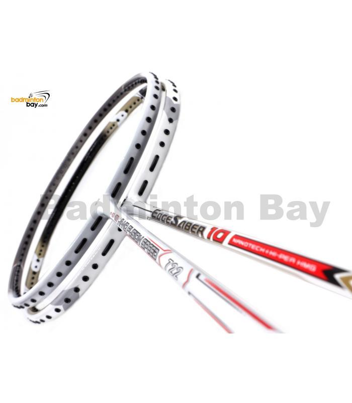2 Pieces Deal: Apacs Nano Fusion Speed 722 White + Apacs EdgeSaber 10 White Badminton Racket