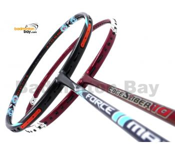 2 Pieces Deal: Apacs Force II Max Dark Grey + Apacs EdgeSaber 10 Red Badminton Racket