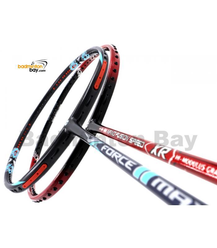 2 Pieces Deal: Apacs Force II Max Dark Grey + Apacs Nano Fusion Speed XR Black Red Badminton Racket