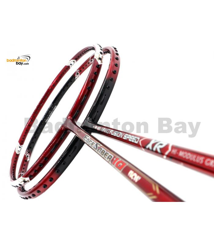 2 Pieces Deal: Apacs Nano Fusion Speed XR Black Red + Apacs Edgesaber 10 Red Badminton Racket