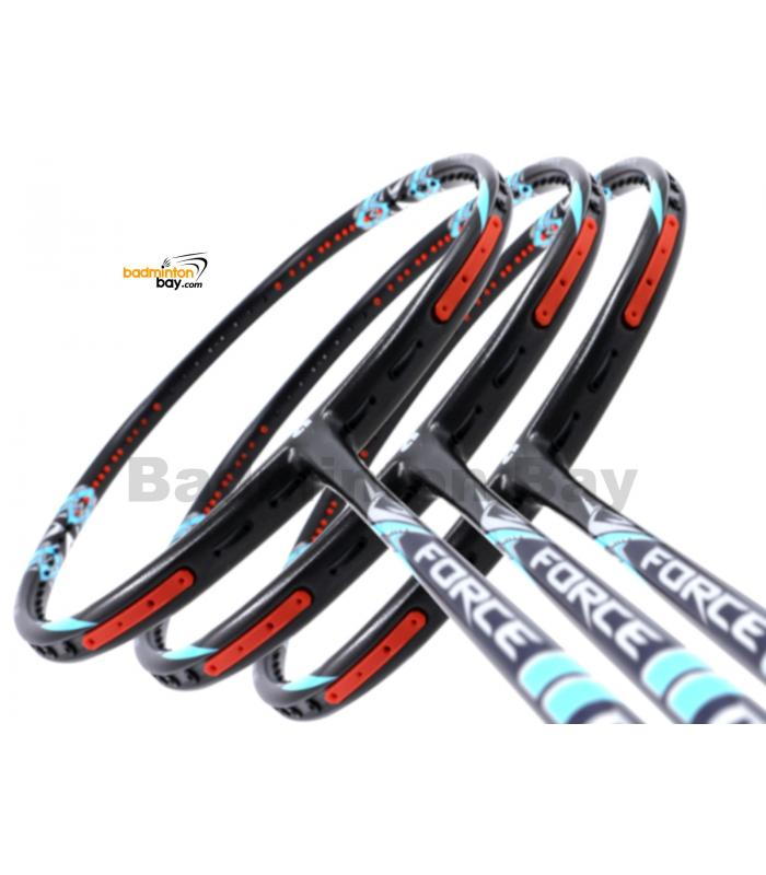 3 Pieces Rackets - Apacs Force II Max Dark Grey 4U (Replacement For Z Ziggler Force 2) Compact Frame Badminton Racket