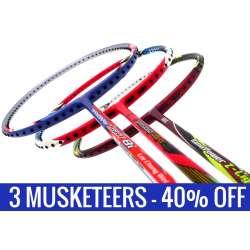 Three Musketeers Bundling (3 Rackets): 1x Abroz Nano Power Z-Light, 1x Apacs Virtuoso Light Red, 1x Yonex - Nanoray Light 8i iSeries Badminton Racket