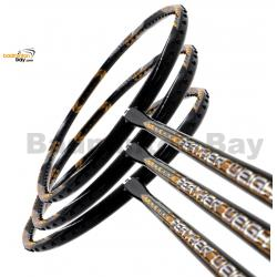 3 Pieces Rackets - Apacs Feather Weight X SPECIAL (XS) Black Gold Badminton Racket (8U) Worlds Lightest Badminton Racket