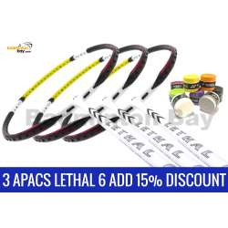 Lethal 6 Bundle: 8 Pieces Yonex AC102 Overgrips + 3 pieces Apacs Lethal 6 5U Badminton Racket