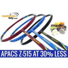 Staff Pick Z-515: 8 Pieces Yonex AC102 Overgrips + 1x Apacs Ziggler 515 Black Blue + 1x Apacs Ziggler 515 Blue + 1x Apacs Ziggler 515 Red Badminton Racket
