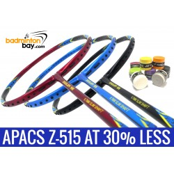 Staff Pick Z-515: 8 Pieces Yonex AC102 Overgrips + 1x Apacs Ziggler 515 Black Blue + 1x Apacs Ziggler 515 Blue + 1x Apacs Ziggler 515 Red Badminton Racket