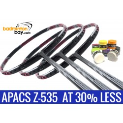 Staff Pick Z-535: 8 Pieces Yonex AC102 Overgrips + 3x Apacs Ziggler 535 Red Black Badminton Racket