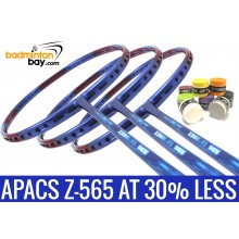 Staff Pick Z-565: 8 Pieces Yonex AC102 Overgrips + 3x Apacs Ziggler 565 Blue Red Badminton Racket