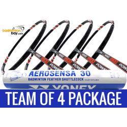 Team Package: 1 Tube Yonex AS30 Shuttlecocks + 4 Rackets - Abroz Nano 9900 Power 5U Badminton Racket