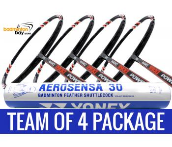 Team Package: 1 Tube Yonex AS30 Shuttlecocks + 4 Rackets - Abroz Nano 9900 Power 5U Badminton Racket