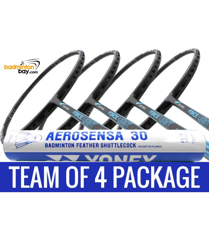 Team Package: 1 Tube Yonex AS30 Shuttlecocks + 4 Rackets - Abroz Nano Power Force Light 6U Badminton Racket