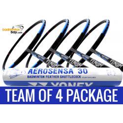 Team Package: 1 Tube Yonex AS30 Shuttlecocks + 4 Rackets - Abroz Nano Power Venom 6U Badminton Racket