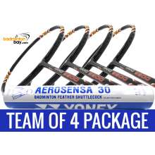 Team Package: 1 Tube Yonex AS30 Shuttlecocks + 4 Rackets - Apacs Nano 9900 Badminton Racket
