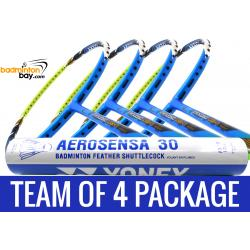 Team Package: 1 Tube Yonex AS30 Shuttlecocks + 4 Rackets - Apacs Virtuoso Light Blue Green Badminton Racket