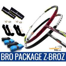 Bro Package Z-BROZ: Abroz Nano Power Z-Light + Abroz Nano Power Z-Smash Badminton Rackets + 4 pieces Abroz PU Grips + 2 Velvet covers + 2 pairs socks