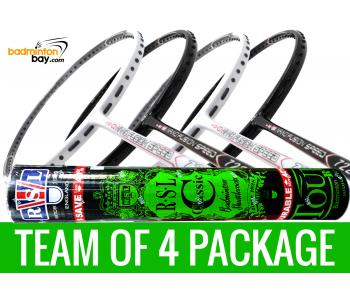 Team Package: 1 Tube RSL Classic Shuttlecocks  + 4 Rackets - Apacs Nano Fusion 722 Speed (2 in Black, 2 in White)  Badminton Racket