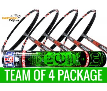 Team Package: 1 Tube RSL Classic Shuttlecocks + 4 Rackets - Abroz Nano 9900 Power 5U Badminton Racket