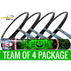 Team Package: 1 Tube RSL Classic Shuttlecocks + 4 Rackets - Abroz Nano Power Force Light 6U Badminton Racket