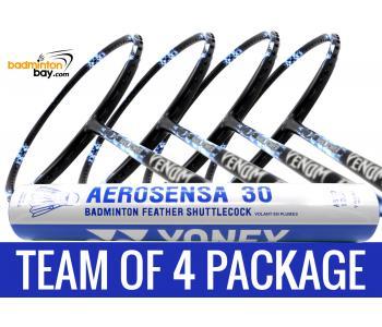 Team Package: 1 Tube Yonex AS30 Shuttlecocks + 4 Rackets - Abroz Nano Power Venom II 6U Badminton Racket