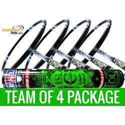 Team Package: 1 Tube RSL Classic Shuttlecocks + 4 Rackets - Abroz Nano Power Venom II 6U Badminton Racket