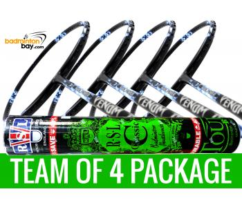 Team Package: 1 Tube RSL Classic Shuttlecocks + 4 Rackets - Abroz Nano Power Venom 6U Badminton Racket