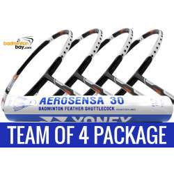 Team Package: 1 Tube Yonex AS30 Shuttlecocks + 4 Rackets - Abroz Nano Power Z-Smash 6U Badminton Racket