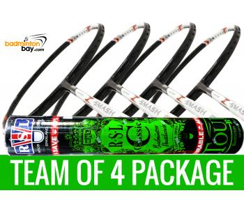 Team Package: 1 Tube RSL Classic Shuttlecocks + 4 Rackets - Abroz Nano Power Z-Smash 6U Badminton Racket
