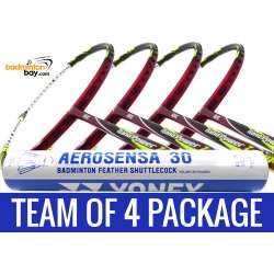 Team Package: 1 Tube Yonex AS30 Shuttlecocks + 4 Rackets - Abroz Nano Power Z-Light 6U Badminton Racket