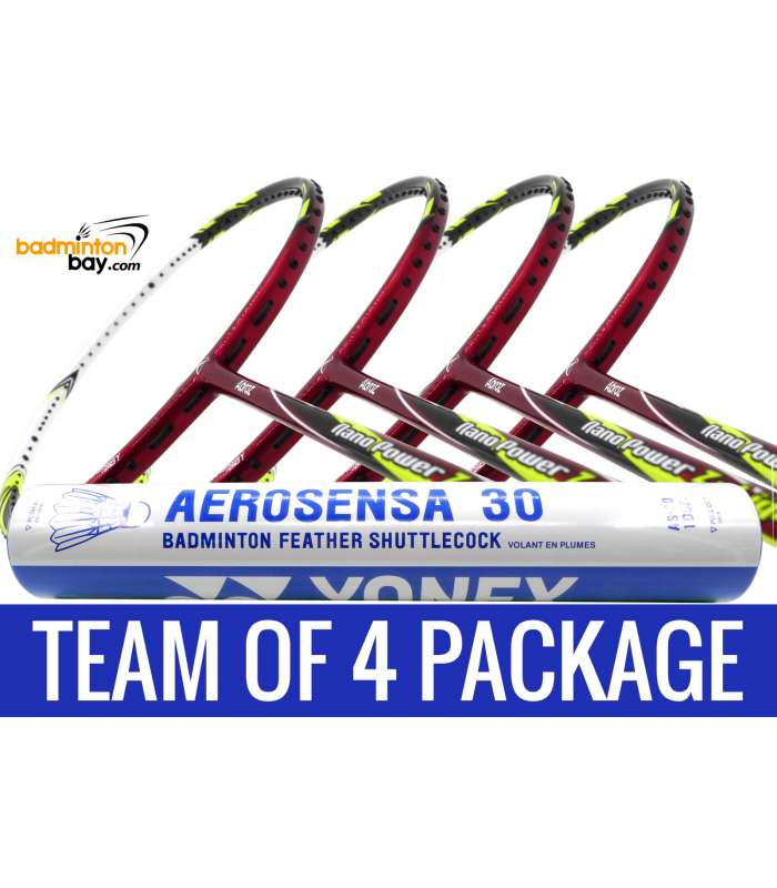Team Package: 1 Tube Yonex AS30 Shuttlecocks + 4 Rackets - Abroz Nano Power Z-Light 6U Badminton Racket