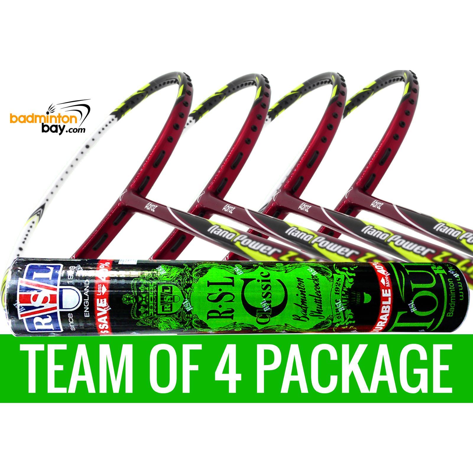Team Package: 1 Tube RSL Classic Shuttlecocks + 4 Rackets ...