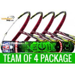 Team Package: 1 Tube RSL Classic Shuttlecocks + 4 Rackets - Abroz Nano Power Z-Light 6U Badminton Racket