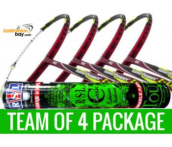 Team Package: 1 Tube RSL Classic Shuttlecocks + 4 Rackets - Abroz Nano Power Z-Light 6U Badminton Racket