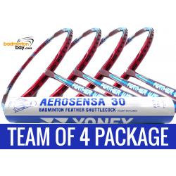 Team Package: 1 Tube Yonex AS30 Shuttlecocks + 4 Rackets - Apacs Feather Weight 55 Red 8U Badminton Racket