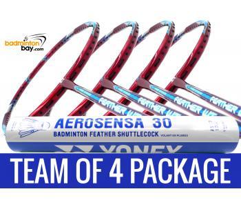 Team Package: 1 Tube Yonex AS30 Shuttlecocks + 4 Rackets - Apacs Feather Weight 55 Red 8U Badminton Racket