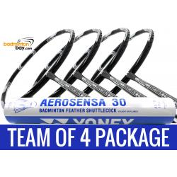 Team Package: 1 Tube Yonex AS30 Shuttlecocks + 4 Rackets - Apacs Feather Weight X Black Silver 8U Badminton Racket