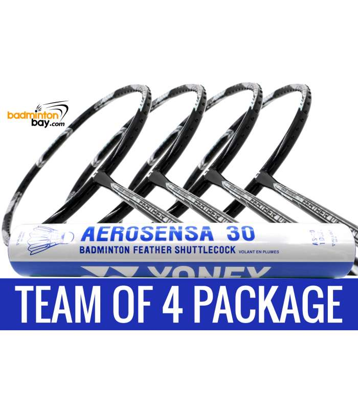Team Package: 1 Tube Yonex AS30 Shuttlecocks + 4 Rackets - Apacs Feather Weight X Black Silver 8U Badminton Racket