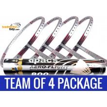 Team Package: 1 Tube Apacs Aero-Flight 800 Shuttlecocks + 4 Rackets - Apacs Stern 90 Offensive 6U Badminton Racket