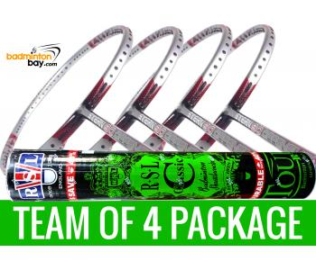 Team Package: 1 Tube RSL Classic Shuttlecocks + 4 Rackets - Apacs Stern 90 Offensive 6U Badminton Racket