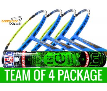 Team Package: 1 Tube RSL Classic Shuttlecocks + 4 Rackets - Apacs Virtuoso Light Blue Green Badminton Racket