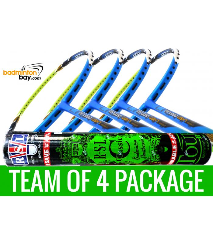 Team Package: 1 Tube RSL Classic Shuttlecocks + 4 Rackets - Apacs Virtuoso Light Blue Green Badminton Racket
