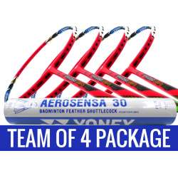 Team Package: 1 Tube Yonex AS30 Shuttlecocks + 4 Rackets - Apacs Virtuoso Light Red Badminton Racket