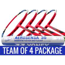 Team Package: 4 Rackets - Apacs Virtuoso Light Red Badminton Racket