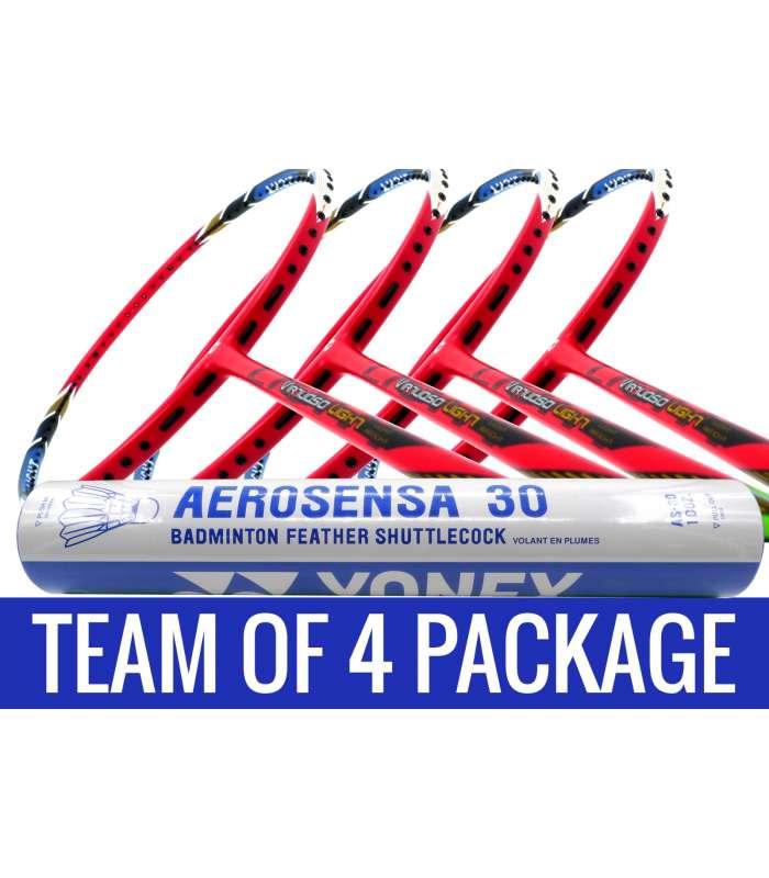 Team Package: 1 Tube Yonex AS30 Shuttlecocks + 4 Rackets - Apacs Virtuoso Light Red Badminton Racket