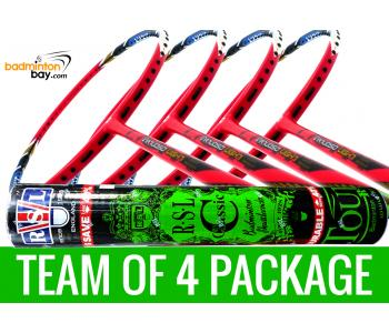 Team Package: 1 Tube RSL Classic Shuttlecocks + 4 Rackets - Apacs Virtuoso Light Red Badminton Racket