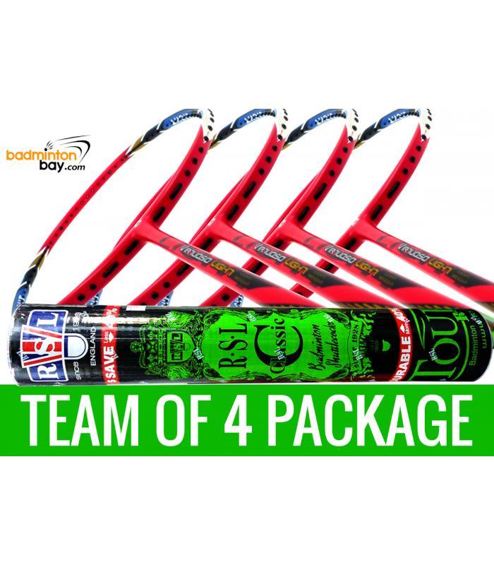 Team Package: 1 Tube RSL Classic Shuttlecocks + 4 Rackets - Apacs Virtuoso Light Red Badminton Racket