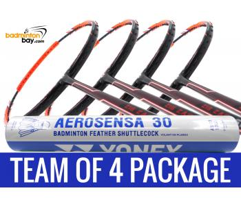 Team Package: 1 Tube Yonex AS30 Shuttlecocks + 4 Rackets - Apacs Zig Zag Speed Orange (Prime Version) Compact Frame Badminton Racket