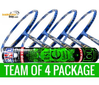 Team Package: 1 Tube RSL Classic Shuttlecocks + 4 Rackets - Abroz Shark Tiger 6U Badminton Racket