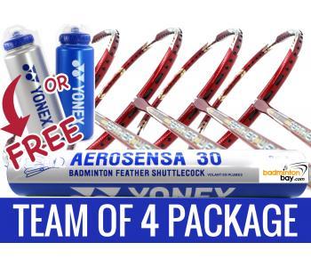 Team Package Free Yonex Bottle : 1 Tube Yonex AS30 Shuttlecocks + 4 Rackets - Apacs Feather Weight X II Red Gold Badminton Racket
