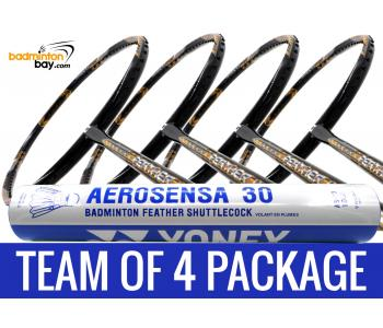 Team Package: 1 Tube Yonex AS30 Shuttlecocks + 4 Rackets - Apacs Feather Weight X SPECIAL (XS) Black Gold Badminton Racket